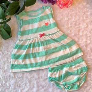 Carter's Green & White Baby Dress Size 9 Months